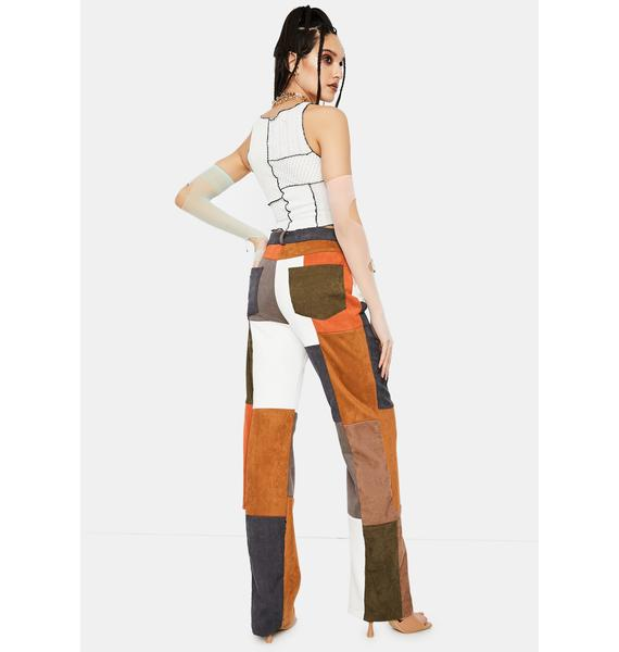 Jaded London Mixed Patchwork Cord Wide Leg Trousers