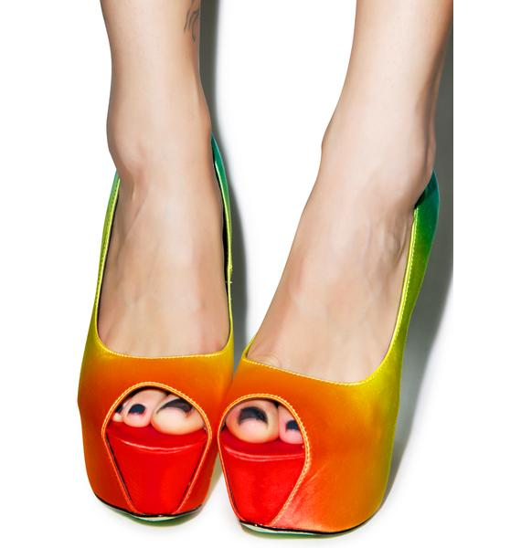 Taylor Says Tiki Gaga Peep Toe Pumps