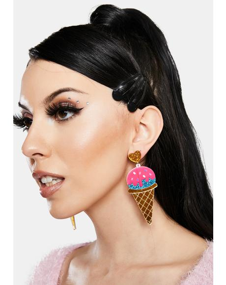 Sundae Sparkle Glitter Ice Cream Earrings