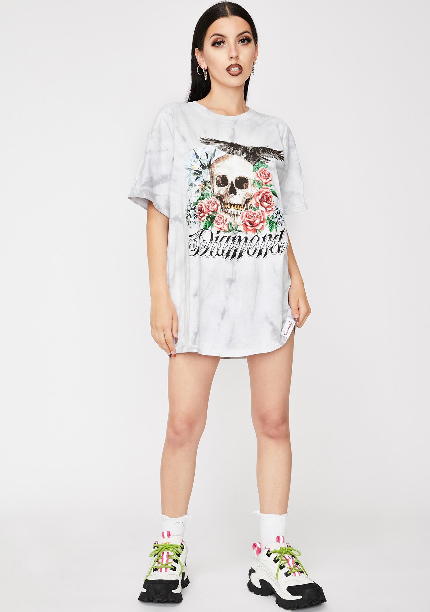 Diamond Supply Co Skull And Crow Tie Dye Graphic Tee