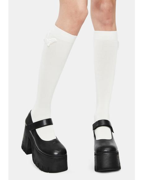 Chill Eyes Wide Open Knee High Socks