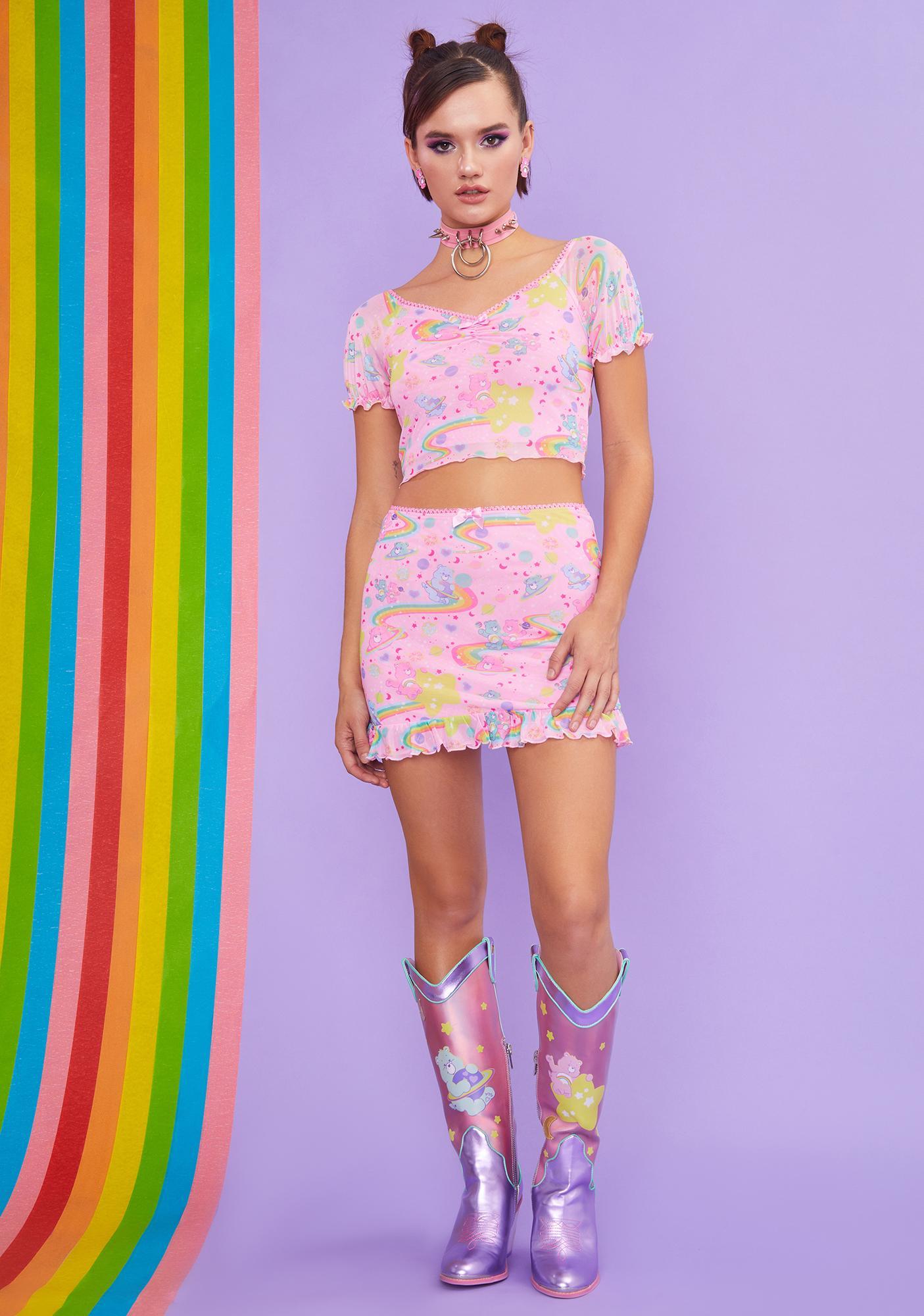Dolls Kill x Care Bears Rainbow Ride Mesh Top