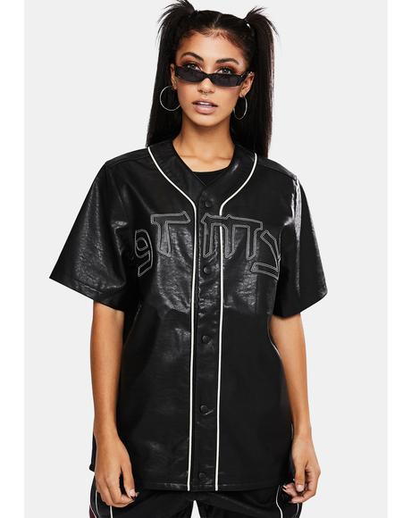 Call Of Yore Vegan Leather Baseball Shirt