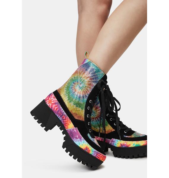 Tie Dye Glam Soldier Combat Boots
