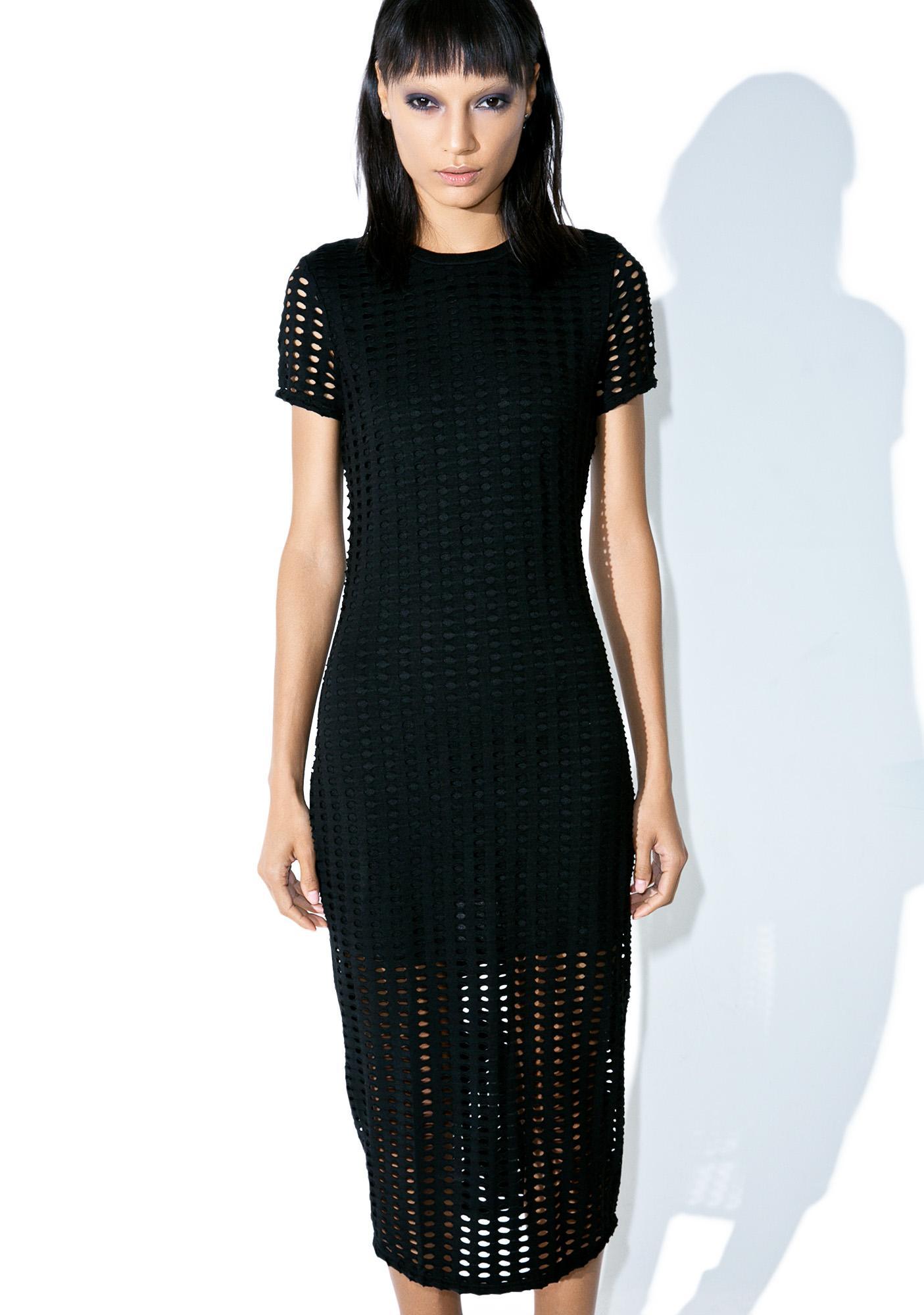 Kendall + Kylie Laser Cut Midi Dress