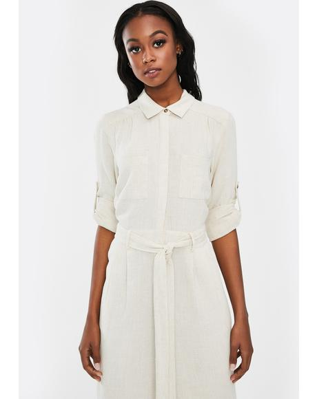 Off White Linen Boilersuit