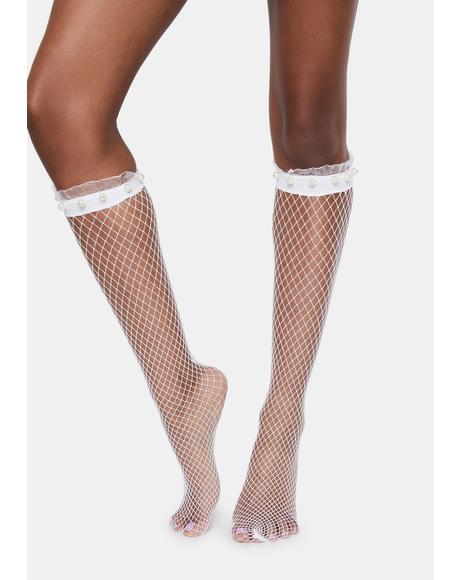 White Pearl Ruffle Cuff Fishnet Socks
