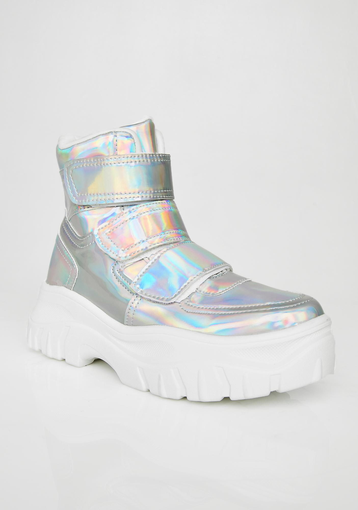 Public Desire Bae Holo Velcro Sneakers