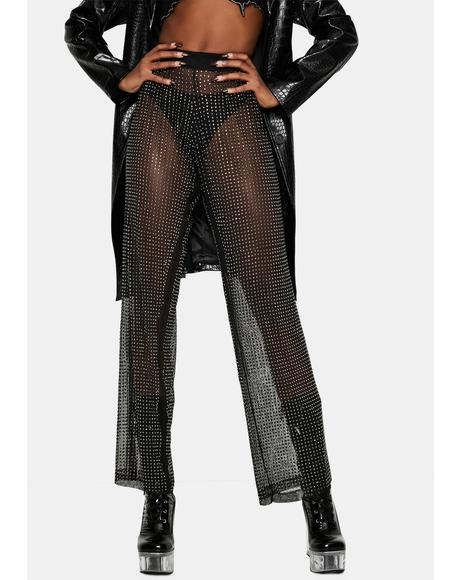 Midnight Glamour Rhinestone Mesh Pants