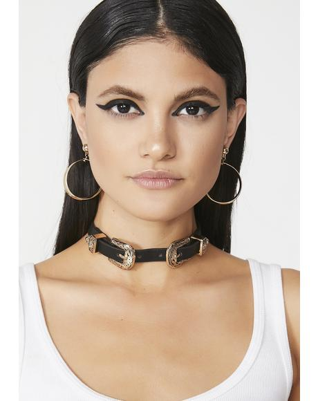 Golden Wild West Buckle Choker