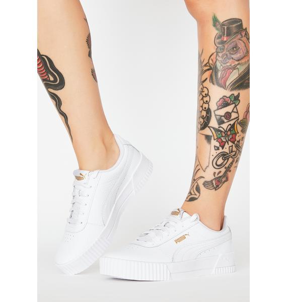 PUMA White Carina Classic Sneakers