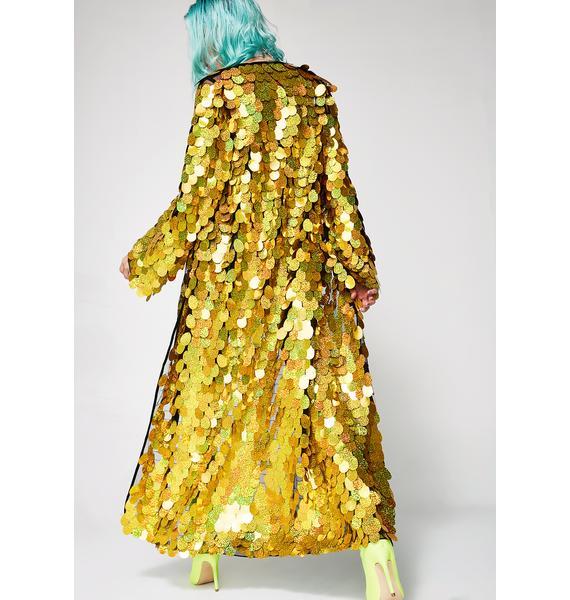 Jaded London Gold Hologram Sequin Kimono