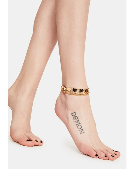 Golden Hearts 3pc Chain Anklets