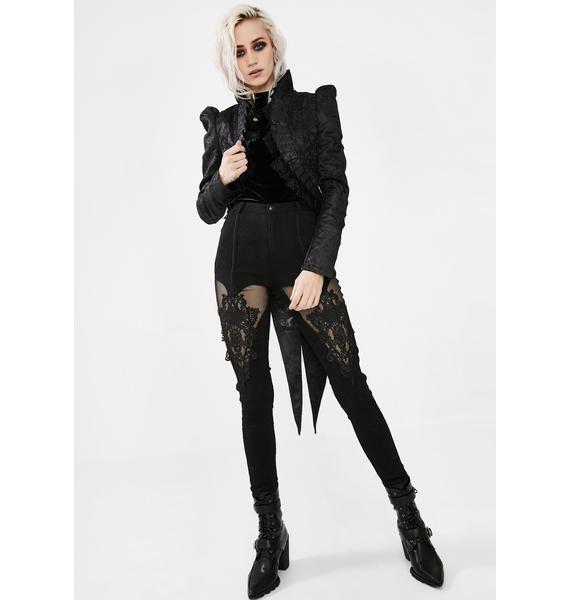 Punk Rave Black Night Ruffled Swallowtail Coat