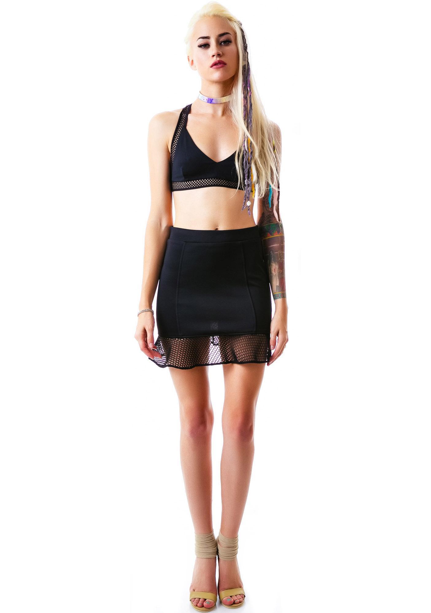 Dont Mesh Ruffle Mini Skirt