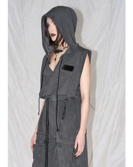 Synth Unisex Hooded Washed Cotton Jumpsuit
