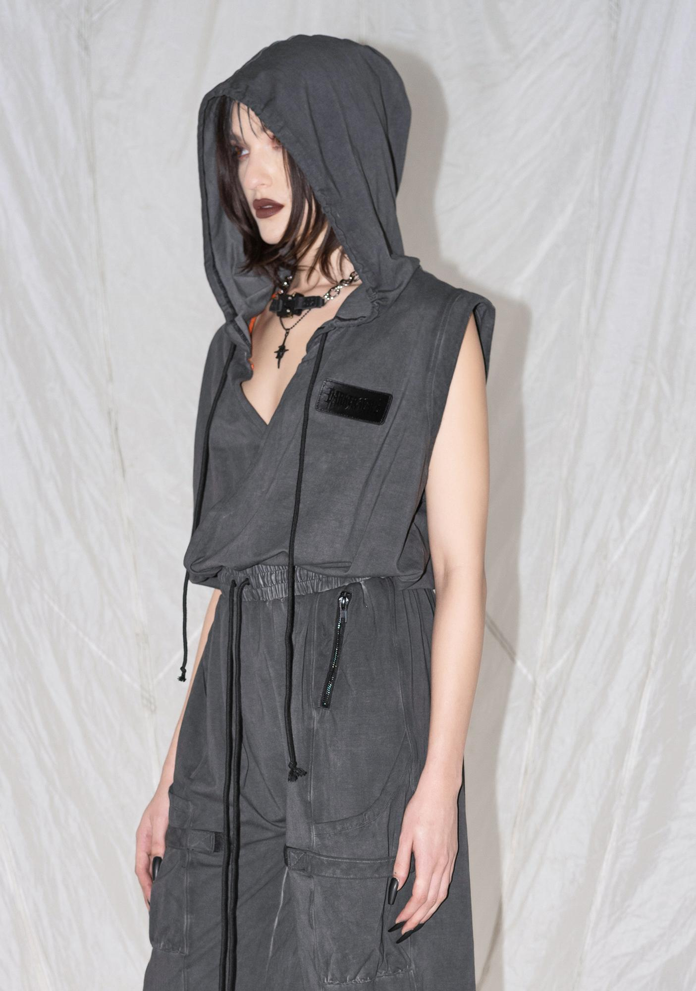 DARKER WAVS Synth Unisex Hooded Washed Cotton Jumpsuit