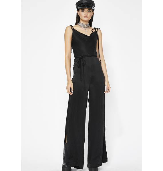 Dare To Flare Satin Jumpsuit