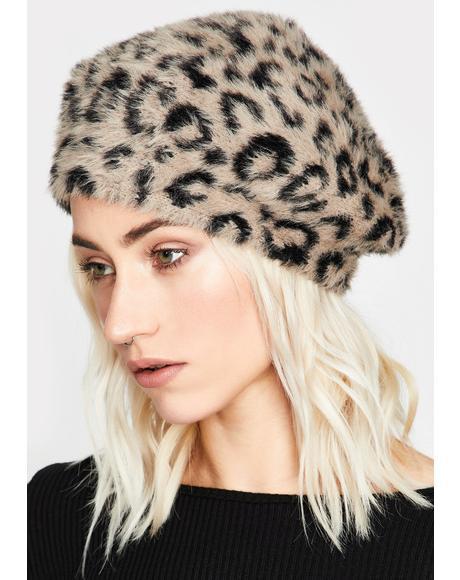 Taupe Top Cat Faux Fur Beret