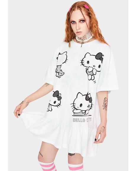 Hello Kitty Tie Dye Frill T-shirt Dress