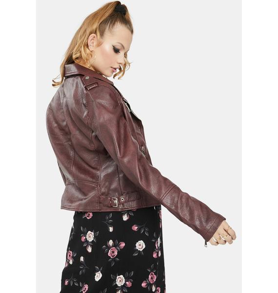 Glamorous Burgundy Vegan Leather Moto Jacket