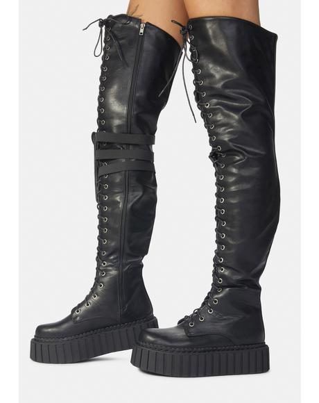 Superstition Creeper Thigh High Holster Boots