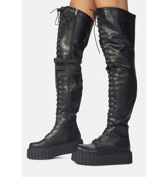 Lamoda Superstition Creeper Thigh High Holster Boots
