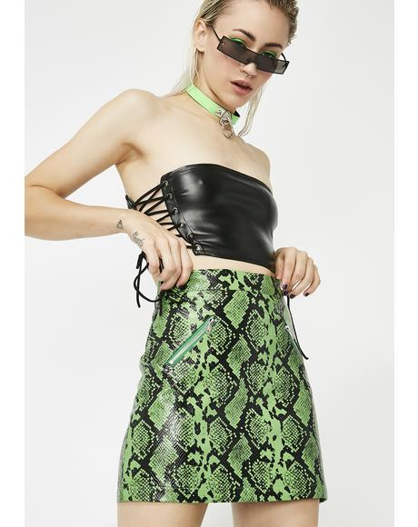 Deadly Doll Snakeskin Mini Skirt