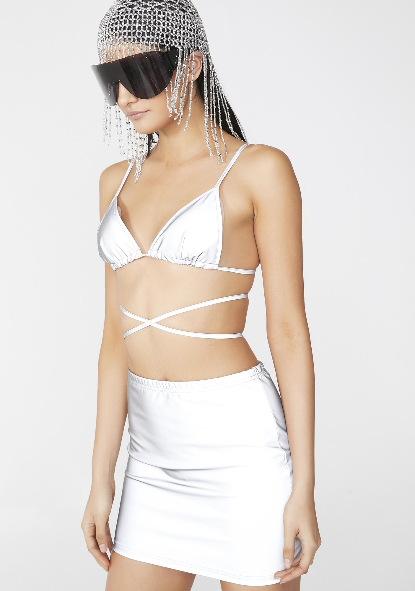 Club Exx Chrome Freak Of Nature Reflective Bra