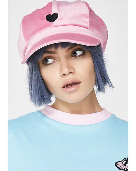 Peakey Velvet Cap