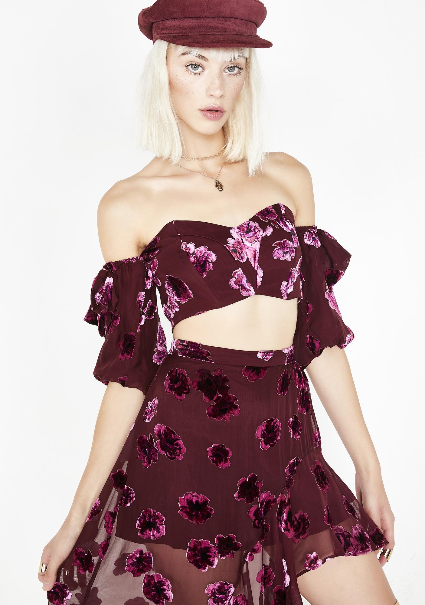 For Love & Lemons Sophie Velvet Floral Top
