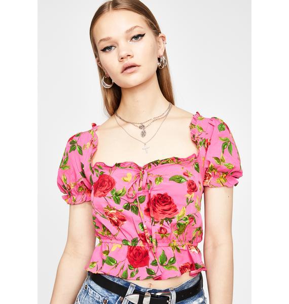 Spring Fling Flirt Floral Blouse