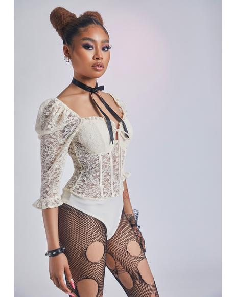 Ivory Wistful Melody Lace Bodysuit
