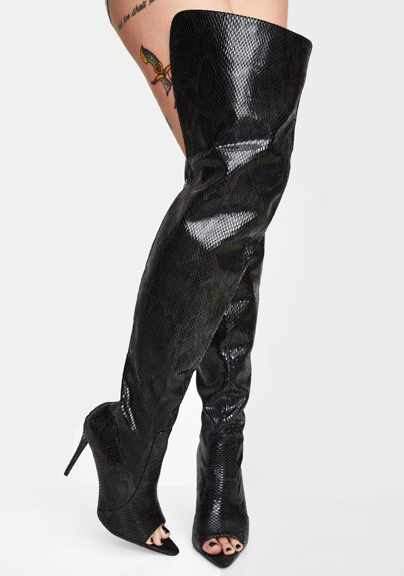 Toxic Heart Thigh High Boots
