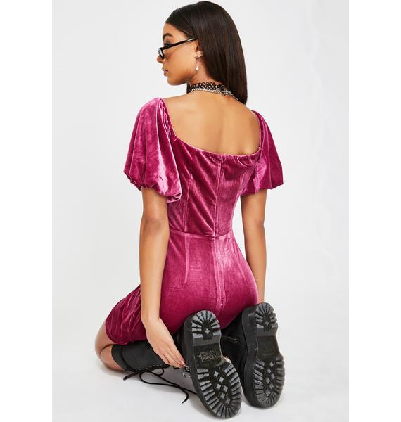 Glamorous Deep Orchid Velvet Mini Dress