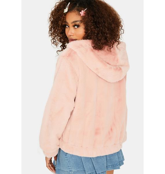 Misty Petals Faux Fur Jacket