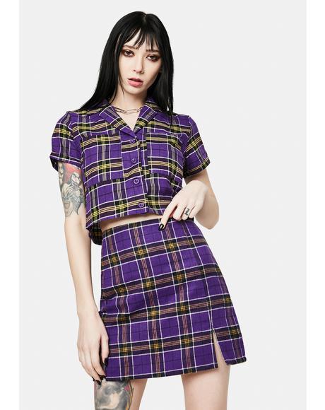 Kaya Purple Plaid Mini Skirt