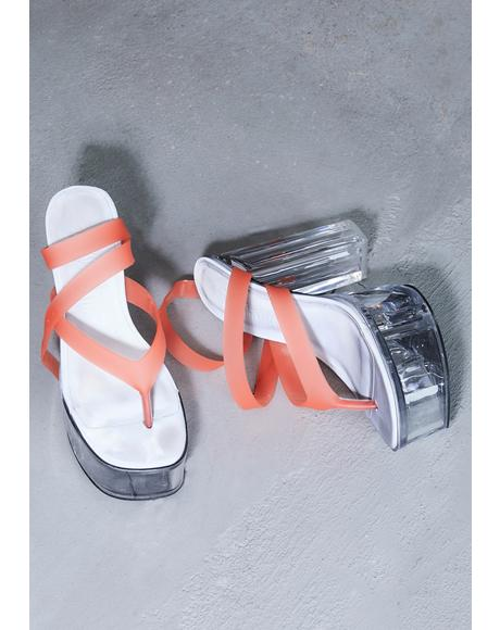 Kickdrum Clear Platform Orange Strappy Sandals