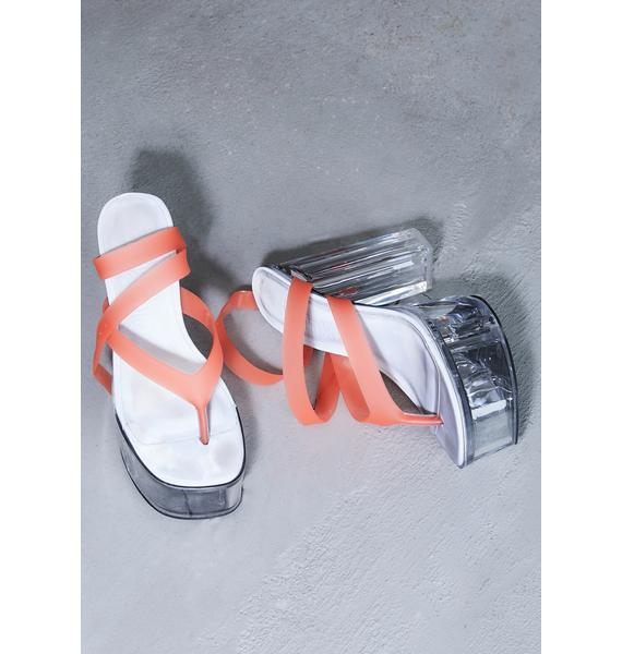 DARKER WAVS Kickdrum Clear Platform Orange Strappy Sandals