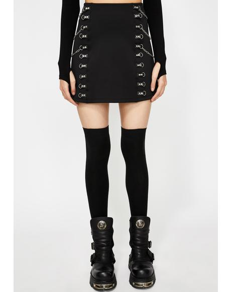 Wicked At Heart Chain Mini Skirt