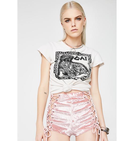 Current Mood Princess Velvet Crushin' Lace-Up Shorts