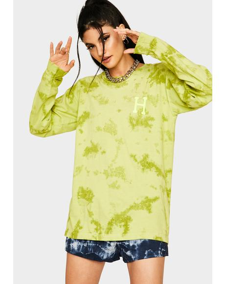 Safety Green Classic H Watercolor Long Sleeve Tee