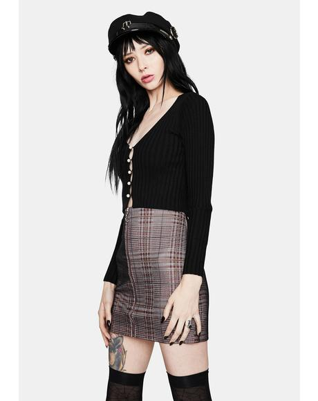 Platinum Plaid Zip Up Skirt