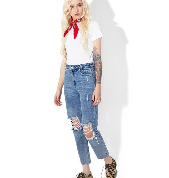 Blow Off Distressed Jeans