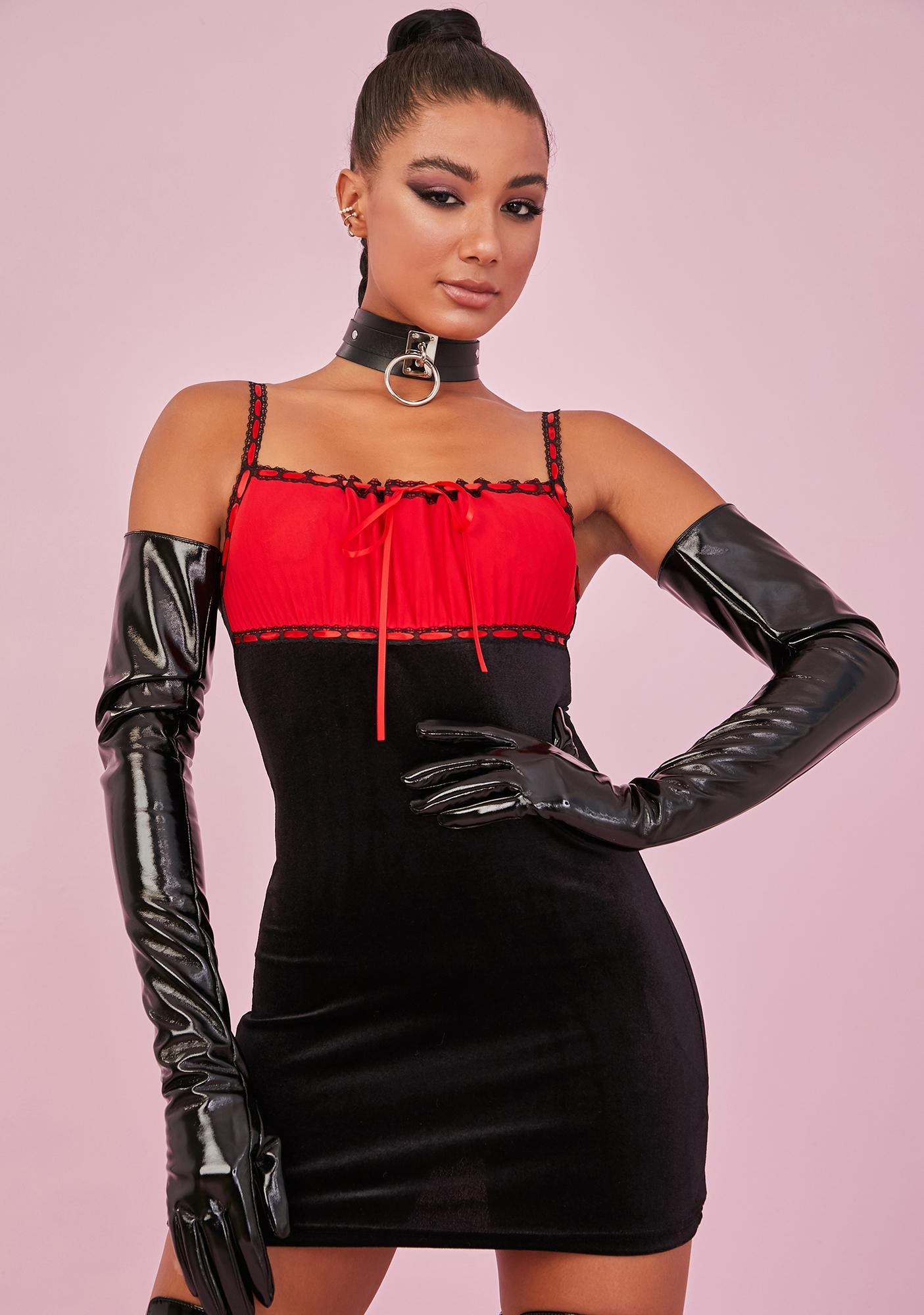 Sugar Thrillz Crimson PS I Love You Velvet Dress