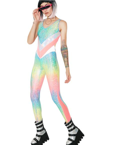 Rainbow Jewel Peekaboo Catsuit