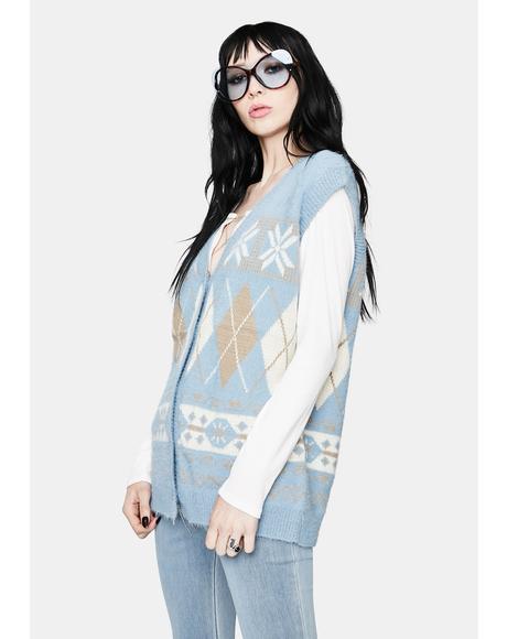 Icy Cutie in Argyle Button Up Sweater Vest