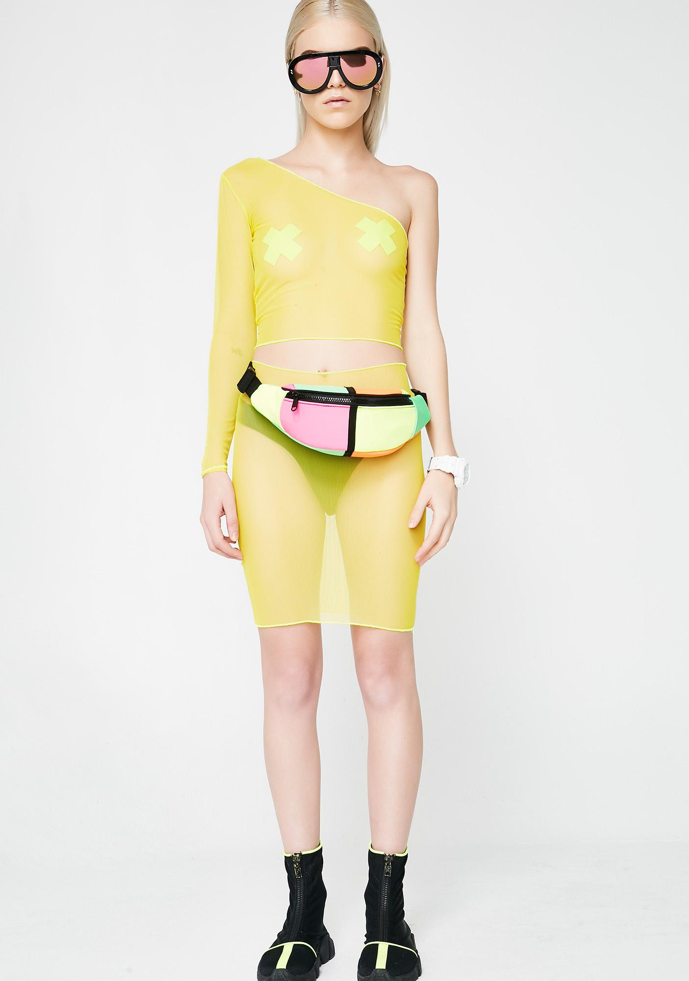 Plugged NYC One Shoulder Crop Top