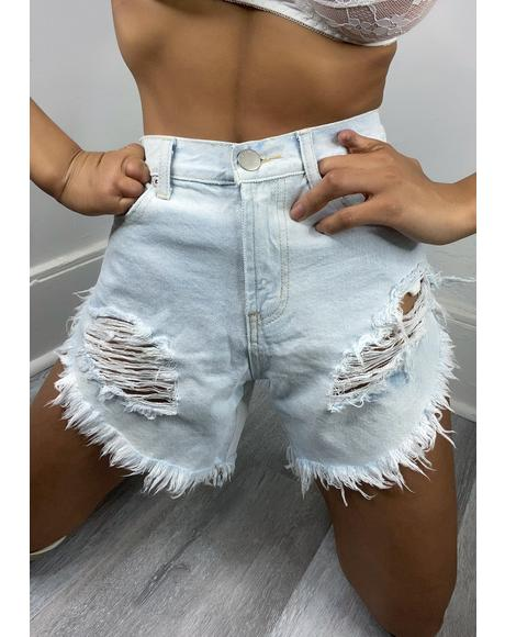 Bleach Distressed Denim Shorts