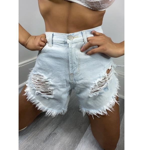 Glamorous Bleach Distressed Denim Shorts